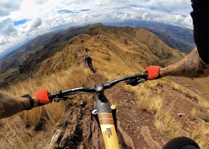 Mountain bikers view Peru
