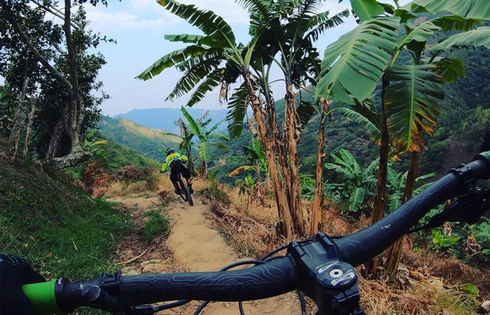 Chasing our local mtb guides in Colombia!